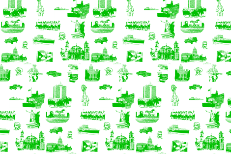Cuban Landmark Toile Green on White fabric by booma_bow_ties on Spoonflower - custom fabric