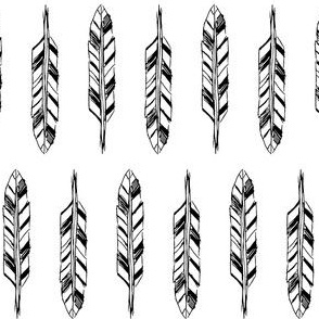 Sketchy Feathers Black and White