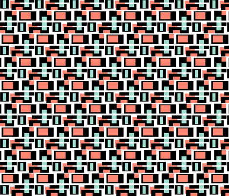 Mint and Coral color blocks fabric by the_design_house on Spoonflower - custom fabric