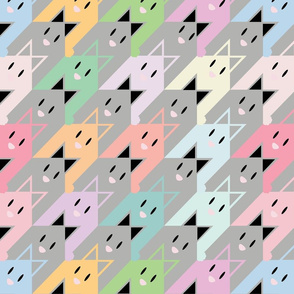 Colorful Bunny Houndstooth