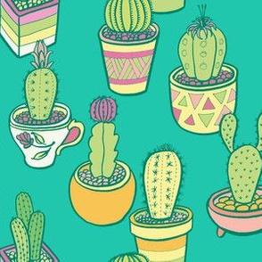 Cactus Garden in Teal