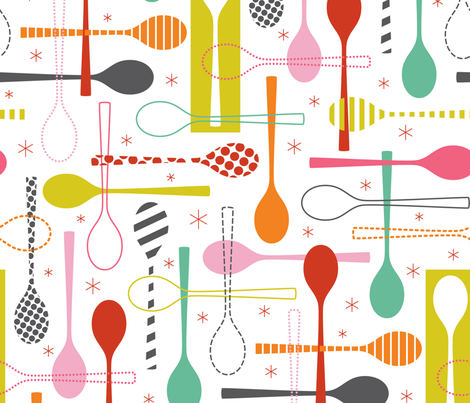 Spoons fabric by katerhees on Spoonflower - custom fabric