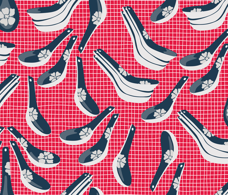 Chinese_Spoons fabric by michela-dupasquier on Spoonflower - custom fabric