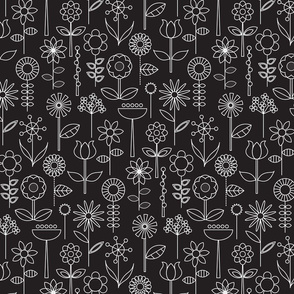 Mod Doodle Blooms Black