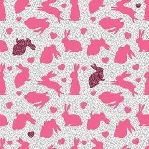 Bunnies & Hearts - Pink Glitter