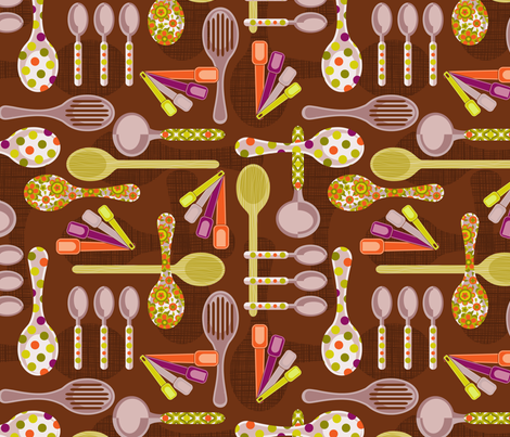 retro  kitchen spoons fabric by cjldesigns on Spoonflower - custom fabric