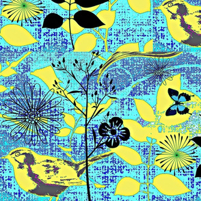 Spring on Denim/yellow