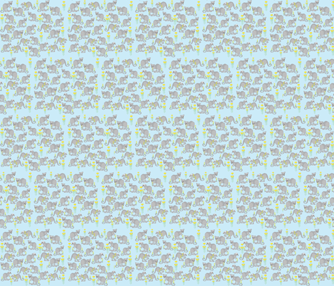 Joeys amongst the flowers blue fabric by karmacranes on Spoonflower - custom fabric
