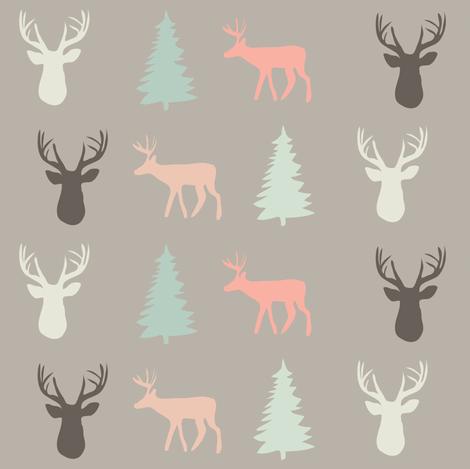 fawn  and fir ©2015 Jill Bull fabric by palmrowprints on Spoonflower - custom fabric