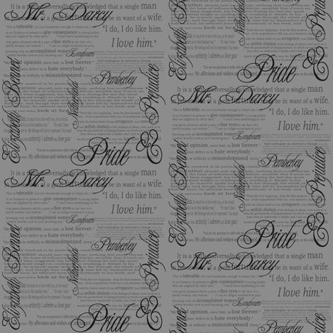 Pride & Prejudice Text (in Grey) fabric by esheepdesigns on Spoonflower - custom fabric