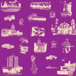 Cuban Landmark Toile Buff on Purple