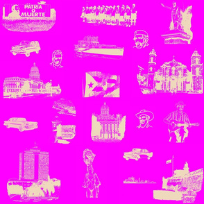 Cuban Landmark Toile Buff on Pink