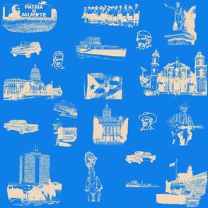 Cuban Landmark Toile Buff on Blue