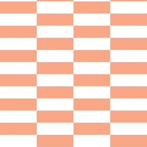 white peach checkerboard stripes