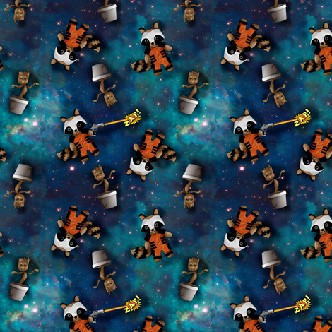 Raccoon and Tree in Space fabric by costumewrangler on Spoonflower - custom fabric