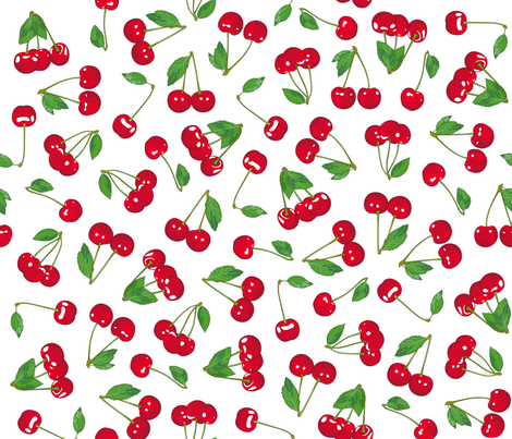 Cherries on crispy WHITE fabric by juliesfabrics on Spoonflower - custom fabric