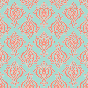 Indian Damask - coral on mint