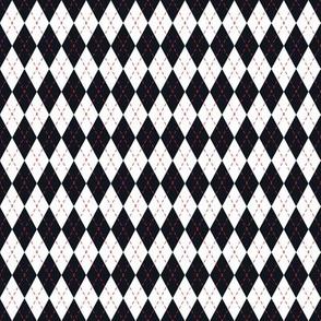 Argyle Black& White/Red