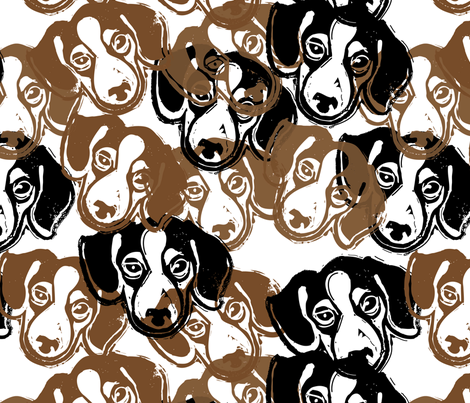 Beagles! 2 - hand-carved design fabric by owlandchickadee on Spoonflower - custom fabric