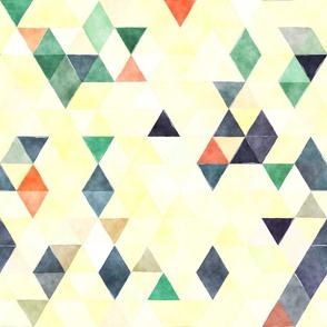 Denim Cream Watercolor Triangles
