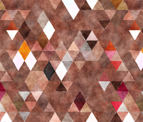 Chocolate Candy Watercolor Triangles fabric by creativeqube_design on Spoonflower - custom fabric