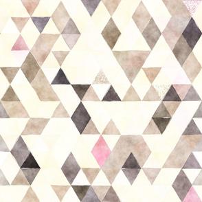 Beige Blush Watercolor Triangles