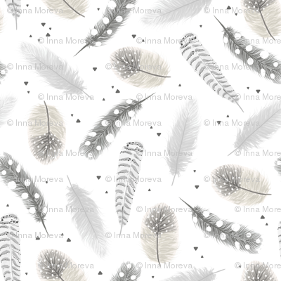 Feathers - monochrome