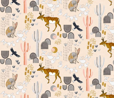 Sonoran Sunrise (blush) fabric by nouveau_bohemian on Spoonflower - custom fabric