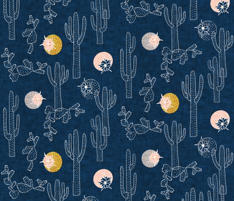 Indigo Cactus fabric by nouveau_bohemian on Spoonflower - custom fabric