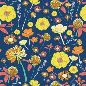 Spring Flowers (navy)