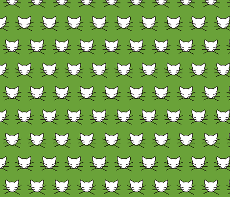 White cat on green fabric by heartyflower on Spoonflower - custom fabric