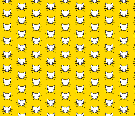 White cat on yellow  fabric by heartyflower on Spoonflower - custom fabric
