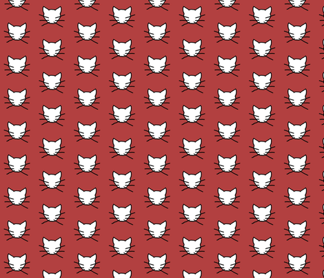 White cat on dark soft red fabric by heartyflower on Spoonflower - custom fabric