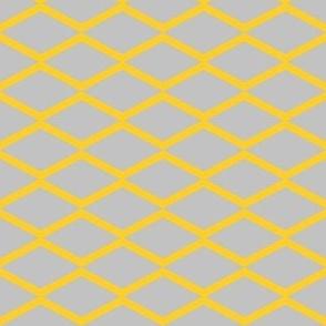 yellow fishnet on grey