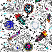 Rockets Space Ships {Stars}  | Zen Doodle | Zentangle  | Bohemian Sky | Cosmic Doodles