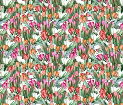 Garden of Tulips - Pink, Orange, Red fabric by arwenartanddesign on Spoonflower - custom fabric