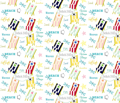 Ocean Way - Beach Baby-gray fabric by drapestudio on Spoonflower - custom fabric