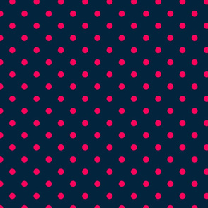 Navy and Hot Pink Polka Dots