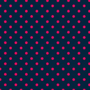 Navy and Hot Pink Polka Dots
