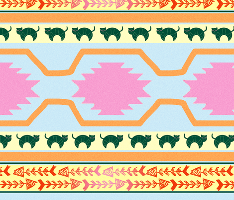 Tribal Kitty fabric by paperondesign on Spoonflower - custom fabric