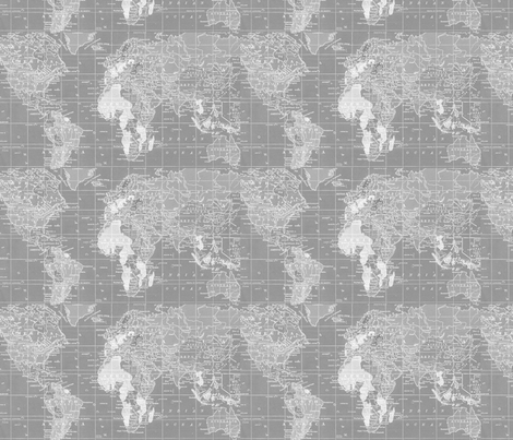 World Map in gray repeat fabric by aftermyart on Spoonflower - custom fabric