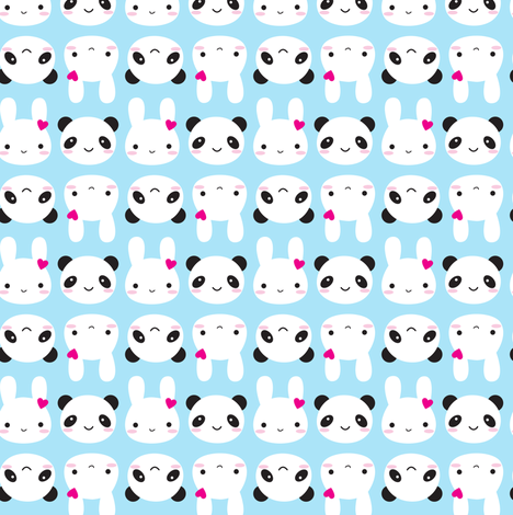 Super Cute Kawaii Bunny and Panda fabric by marcelinesmith on Spoonflower - custom fabric