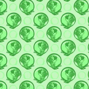 Collared Pug portraits - green