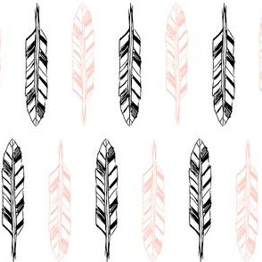 Sketchy Feathers Peach and Black on White
