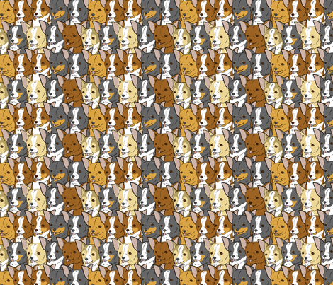 Happy Chihuahua faces fabric by rusticcorgi on Spoonflower - custom fabric