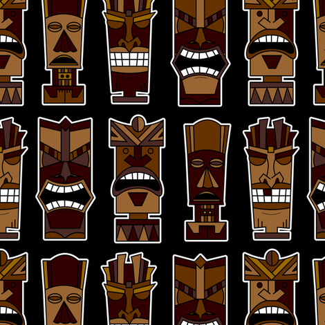 Tiki Party - Brown and Black fabric by jannasalak on Spoonflower - custom fabric