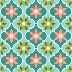 tea-room flower tiles