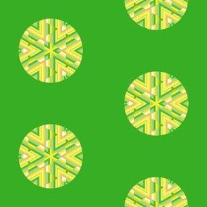 Yellow Kaleidoscope Dot on Green