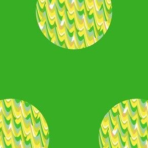 Yellow and Green Waves Dots