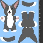 Kawaii Corgi mini plushie - black white